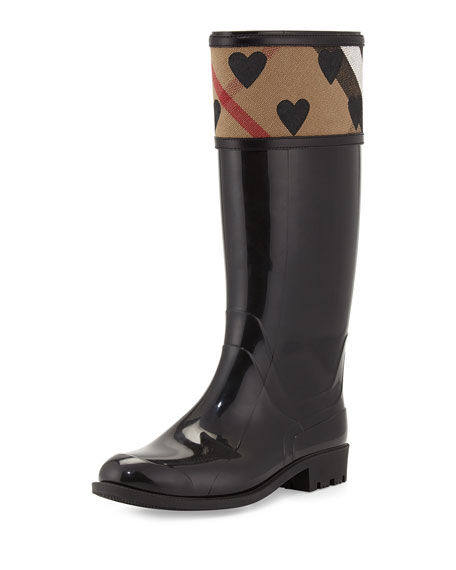 Burberry Crosshill Heart-Check Rain Boot, Black