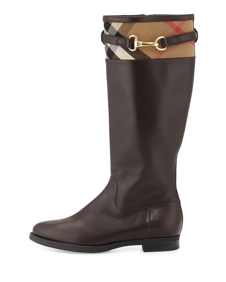 Dougal Check-Trim Leather Knee Boot, Chestnut