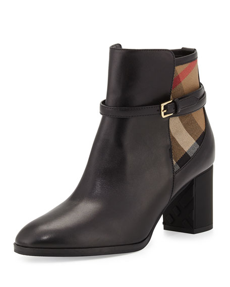 Burberry Stebbingford Leather & Check Bootie, Black