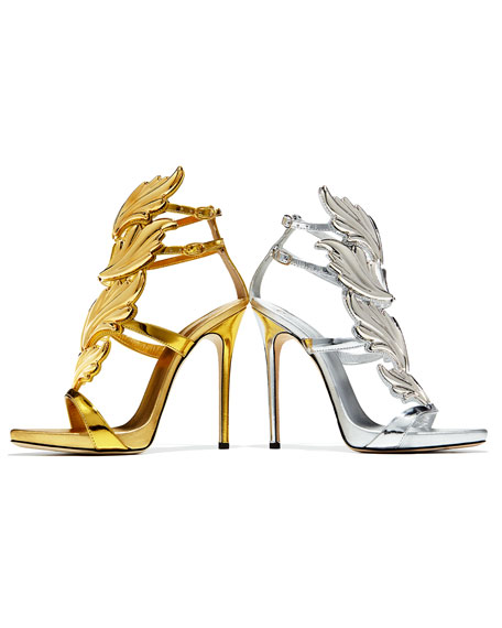 Coline Wings Leather 110mm Sandal, Oro