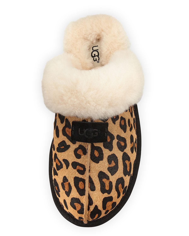 79c514dbf77 Scuffette II Calf-Hair Slipper, Chestnut Leopard