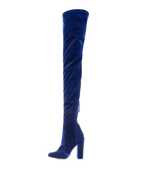 aquazzura velvet 105mm thigh high boot midnight