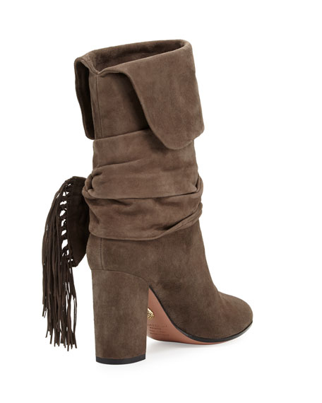 Fringe-Bow Suede 85mm Bootie, Urban Gray