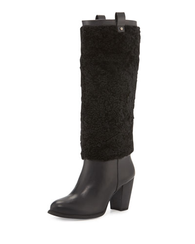 Ava Exposed-Fur Knee Boot, Black