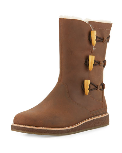 Kaya Toggle Leather Boot, Chocolate