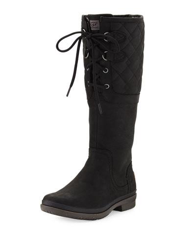 Elsa Deco Quilted Waterproof Boot, Black