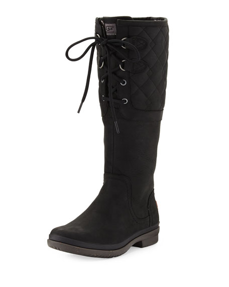 Elsa Deco Quilted Waterproof Boot, Black