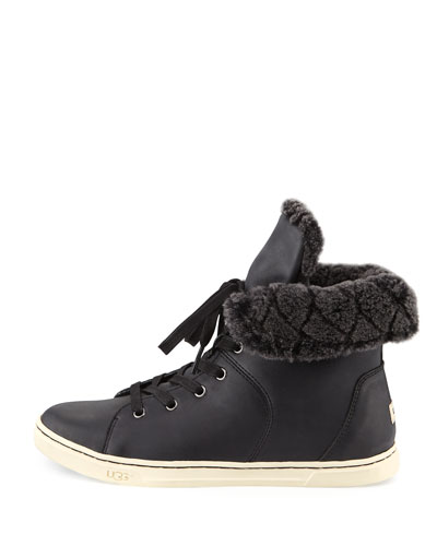 UGG Leathers CROFT LUXE QUILT SNEAKER, BLACK