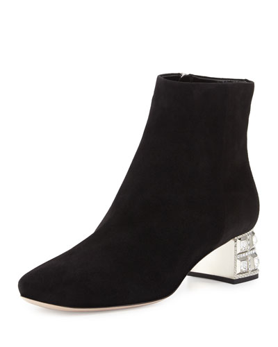 Suede Jewel-Heel Ankle Boot, Nero