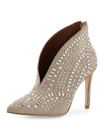 Kira Jeweled Pointed-Toe Bootie, Beige