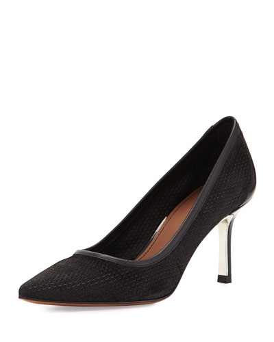 Torin Perforated Pointed-Toe Pump, Black