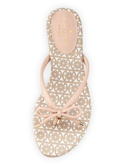 mistic bow flat thong sandal, pale pink