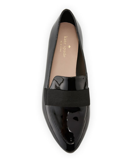 corina patent pointed-toe loafer, black