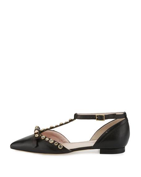 becca jeweled t-strap ballerina flat, black