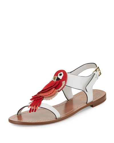charlie parrot t-strap sandal, white/multi