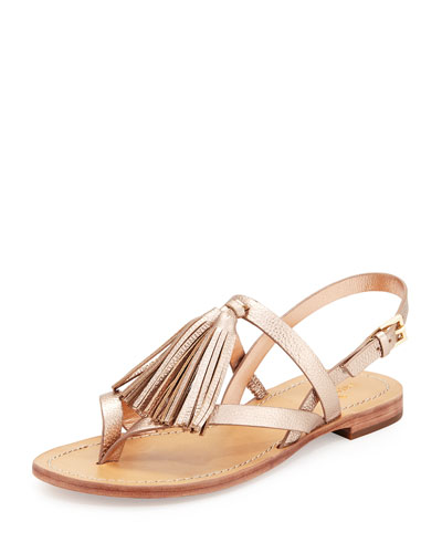 clorinda leather flat tassel sandal, rose gold