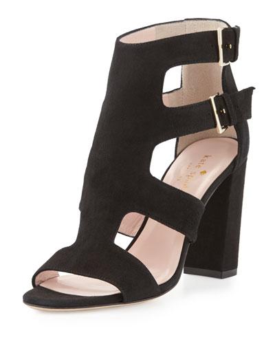 ilemi caged suede chunky-heel sandal, black