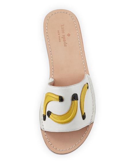 ivone bananas flat slide sandal, white