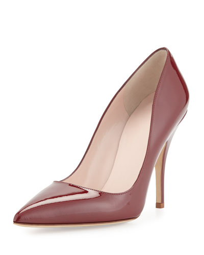 licorice patent pointed-toe pump, red chestnut