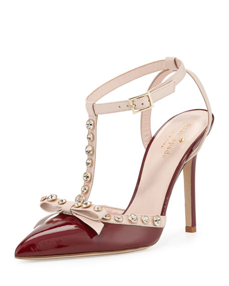 lydia studded patent pump, red chestnut/petal pink