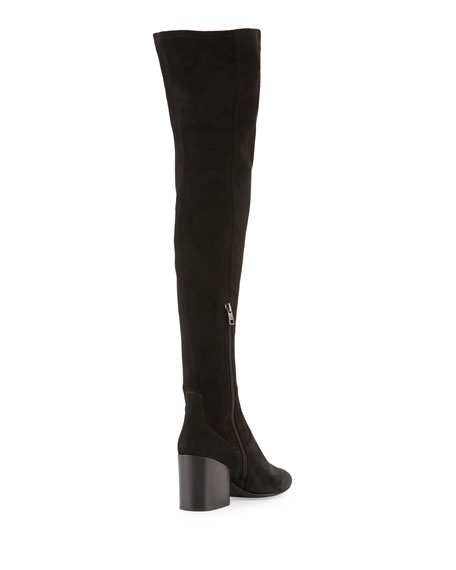 Elisa Chunky-Heel Over-the-Knee Boot, Black