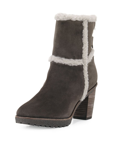 Frye Jen Shearling Ankle Boot, Smoke