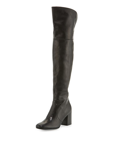 Jodi Leather Over-The-Knee Boot, Black