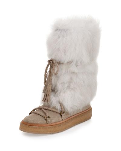 Gail Shearling Fur Tall Boot, Cement