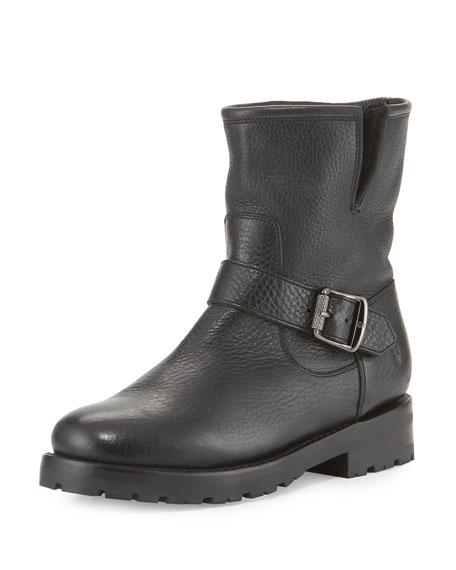 Frye Natalie Shearling-Lined Short Boot, Black