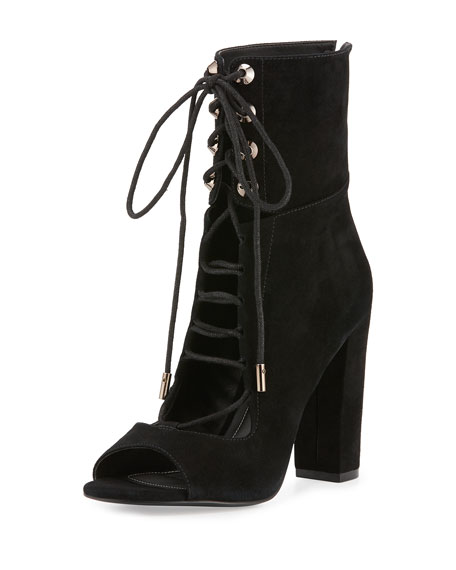 Ella Lace-Up Block-Heel Bootie, Black