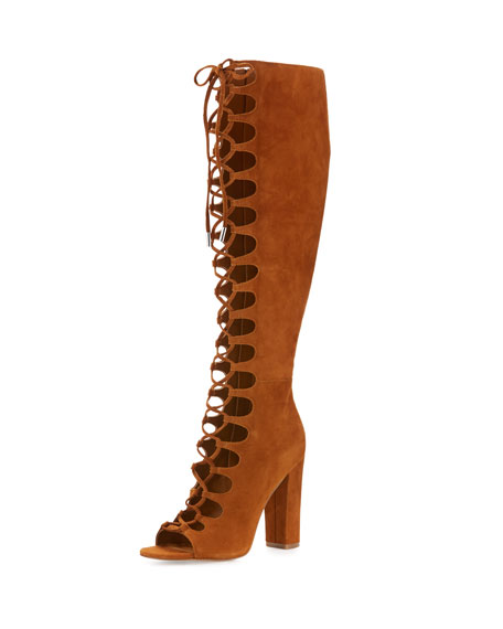 Emma Lace-Up Gladiator Boot, Cognac