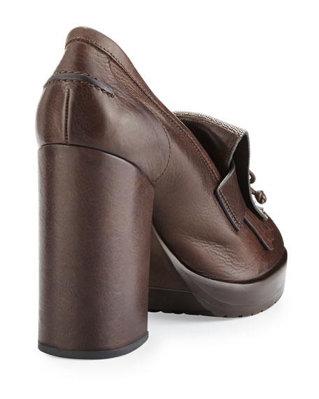 Monili-Kiltie Leather Pump, Brown