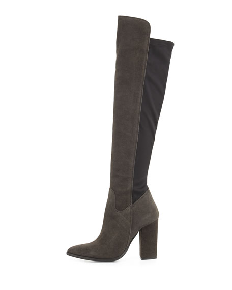 Cha Suede Over-the-Knee Boot, Dark Gray