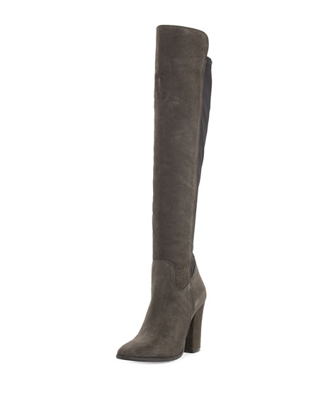 Charles David Cha Suede Over-the-Knee Boot, Dark Gray