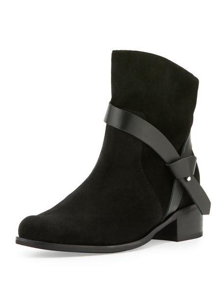 Charles David Genni Suede Ankle-Strap Bootie, Black