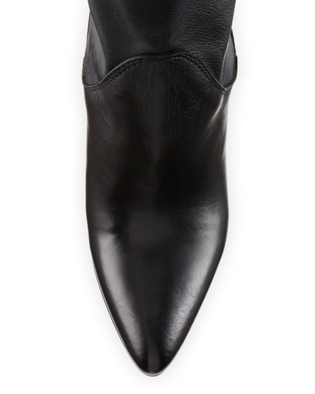 Kristi Leather Pointed-Toe 100mm Bootie, Black