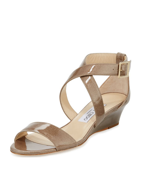 Jimmy Choo Chiara Glitter Crisscross Wedge Sandal, Sand