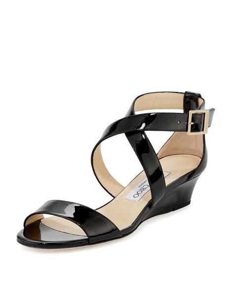 Jimmy Choo Chiara Patent Crisscross Wedge Sandal, Black