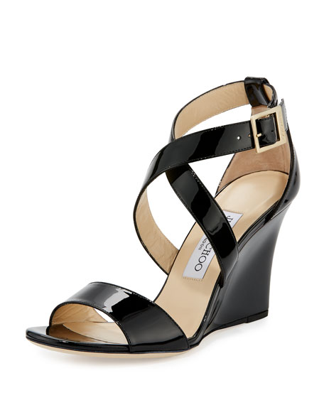 Jimmy Choo Fearne Patent Crisscross Wedge Sandal, Black