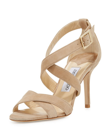 Jimmy Choo Louise Suede Crisscross 85mm Sandal, Nude