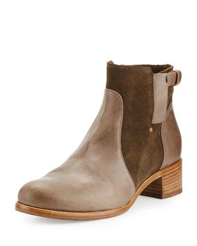 Viola Leather & Suede Bootie, Olive
