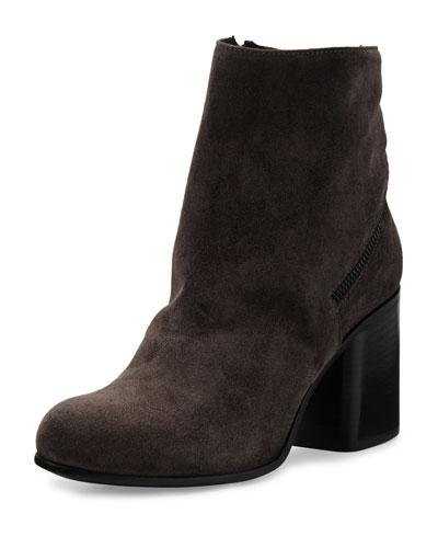 Cassia Suede Chunky-Heel Bootie, Lavanga
