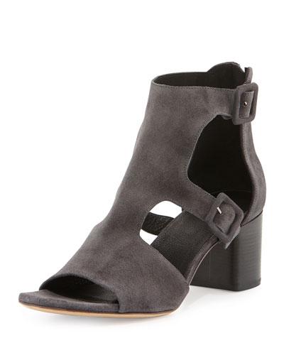 Matteo Suede Block-Heel Sandal, Asphalt