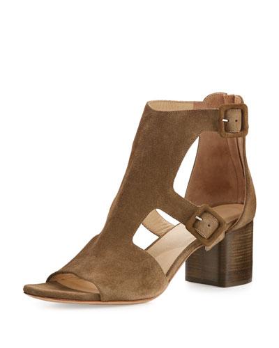 Matteo Suede Block-Heel Sandal, Mineral