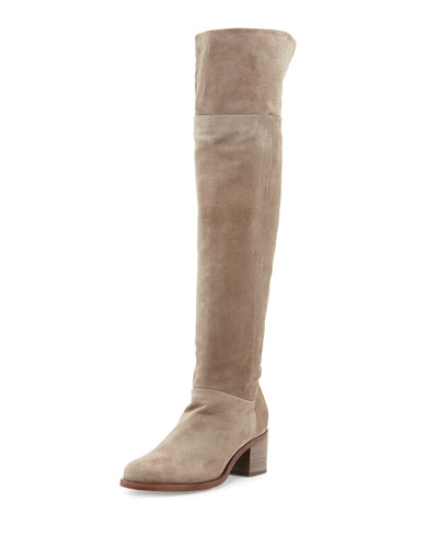 Ashby Suede Over-the-Knee Boot, Stone