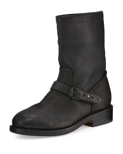 Oliver Leather Moto Boot, Black