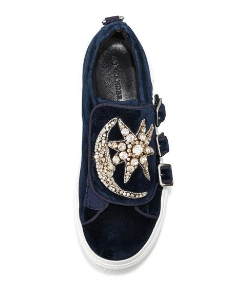 Triple-Monk Velvet Sneaker w/Jeweled Moon & Star, Navy/Silver