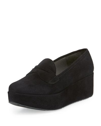 Norberta Suede Platform Loafer, Black