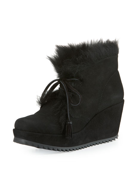 Fidela Shearling Wedge Bootie, Black