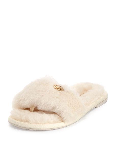 Jet Set Faux-Fur Slide Sandal, Off White